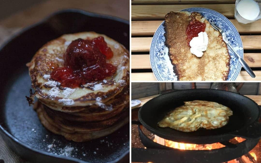 Finnish crepes with red strawberry jam