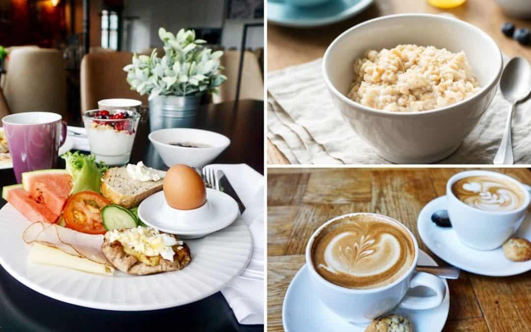 porridge, boiled eggs, Finnish rice pie, coffee, and breakfast foods on table