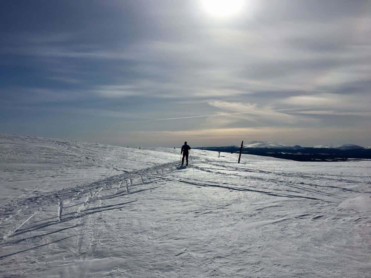 In Yllas ski resort you can cross country ski on top of fells