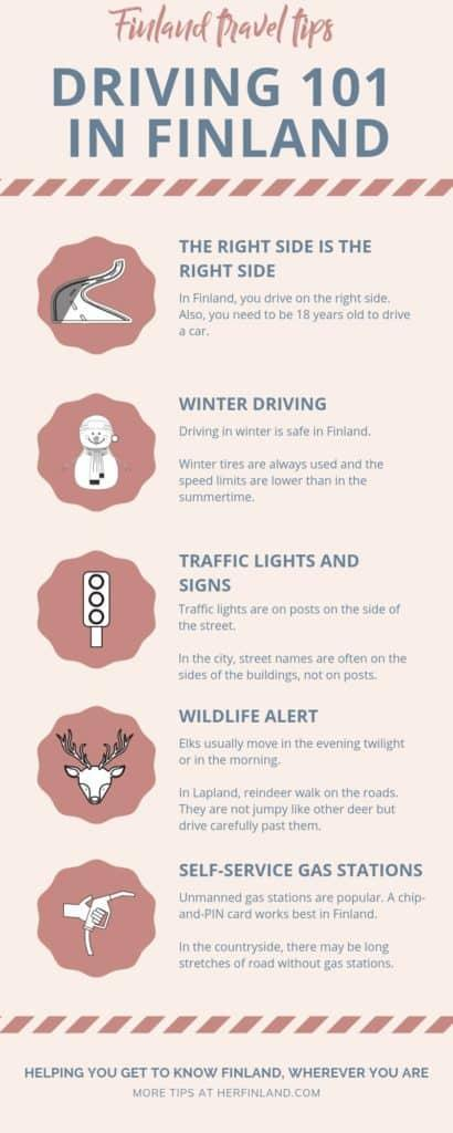 tourist driving in Finland infographic