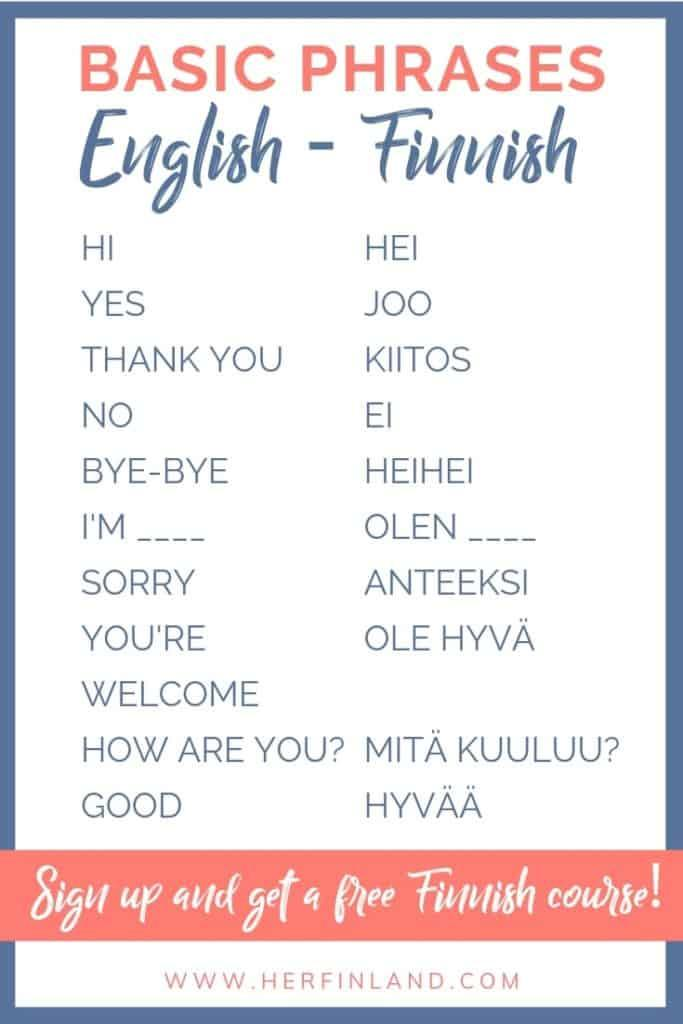 Finnish language basic words by Her Finland blog
