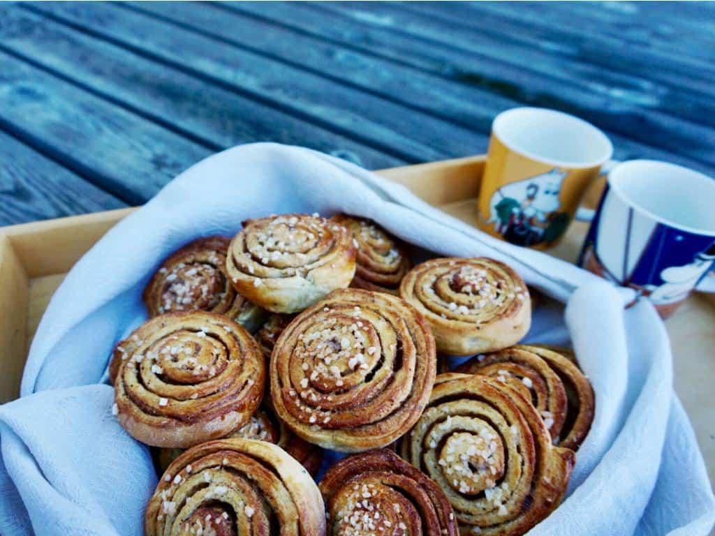 Homemade Finnish pulla is best served immediately with coffee or cold milk