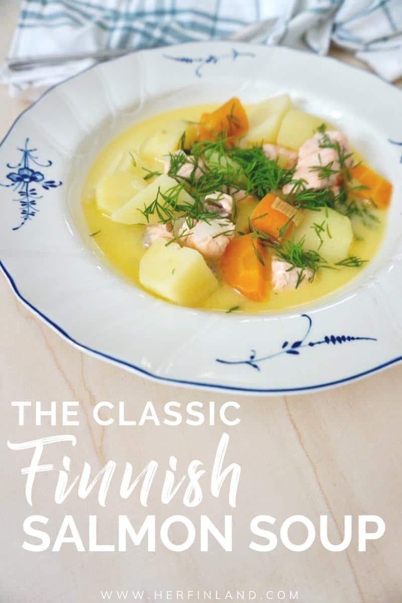 finnish salmon soup is a delicious and easy soup with big chunks of salmon and vegetables with a creamy broth.