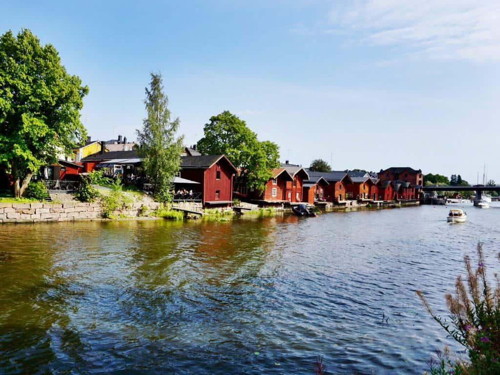 Porvoo Finland is famous for its iconic red warehouses on the river bank.