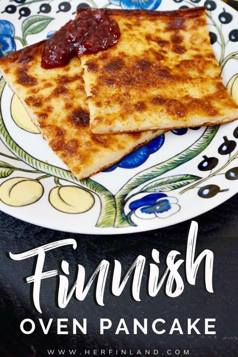 Finnish oven pancake is the most beloved Finnish homey dessert. Learn how to make this super easy treat! #finnishfood #pannukakku