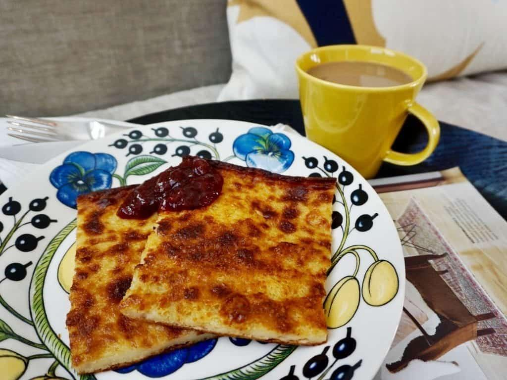 Finnish oven pancake served with jam.