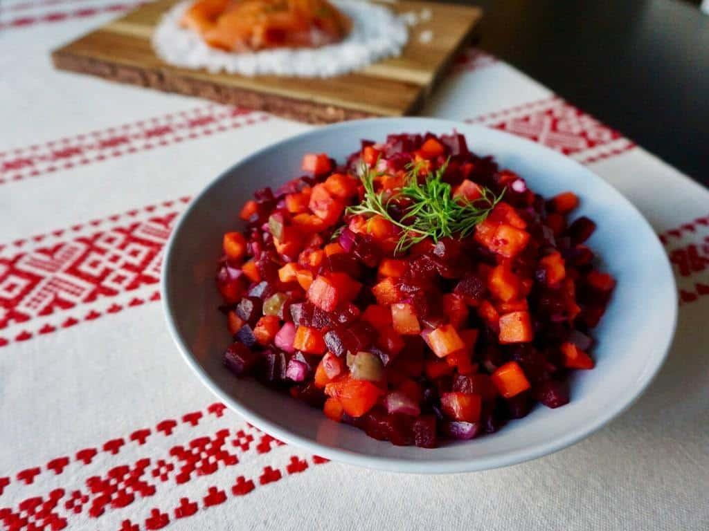 Finnish christmas foods are full of flavor. Christmas starters include beetroot salad and salmon! #finnishchristmas