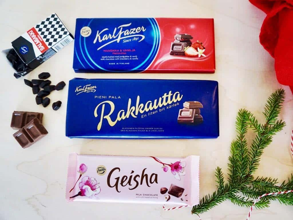 Finnish gifts inlude Fazer chocolate and salty liquorice!