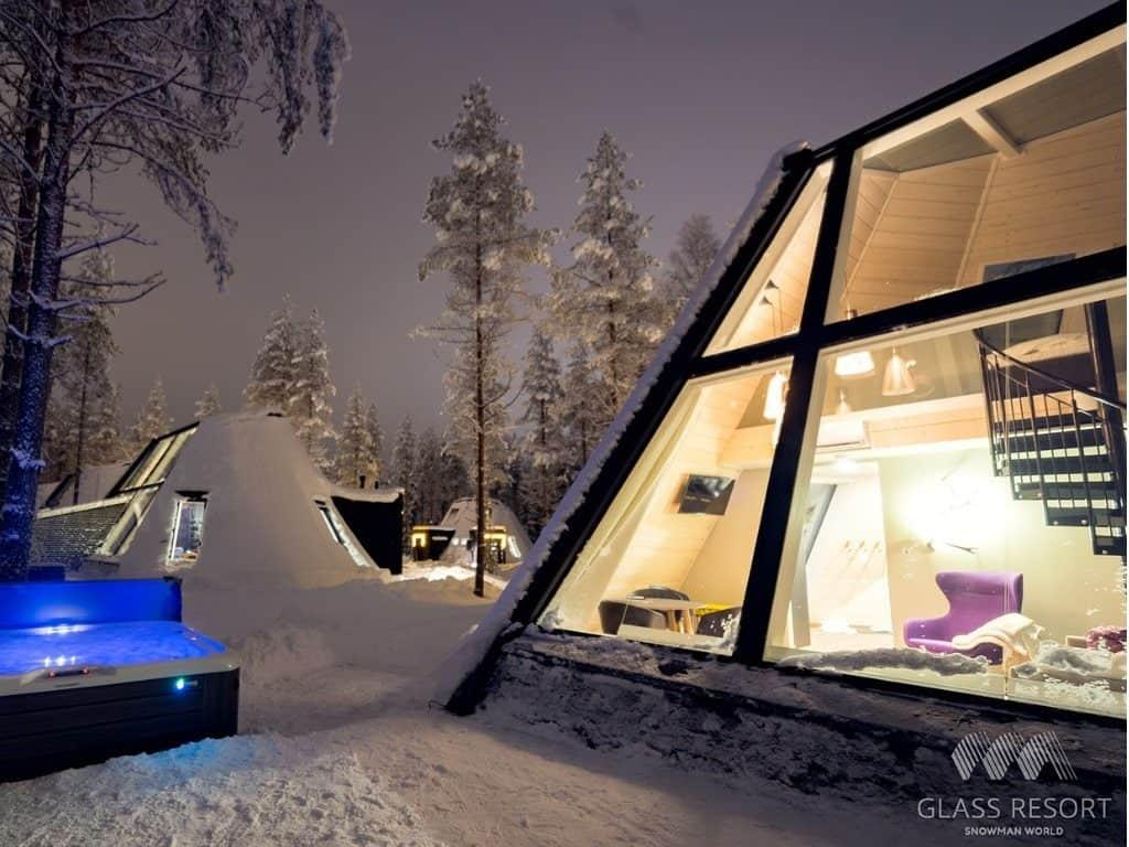 Glass igloos in Snowman resort in Rovaniemi, Finland by Her Finland blog
