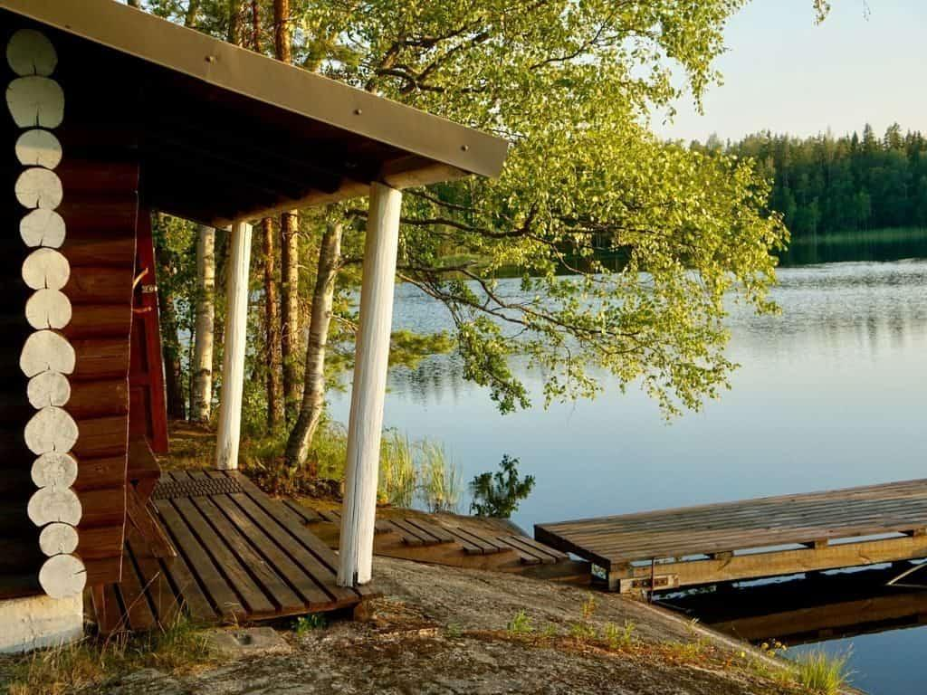 Finnish sauna by the lake in Finland