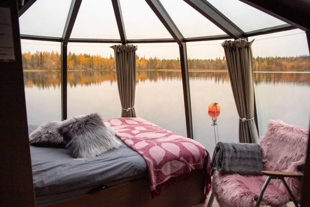 glass igloo cabin on the lake