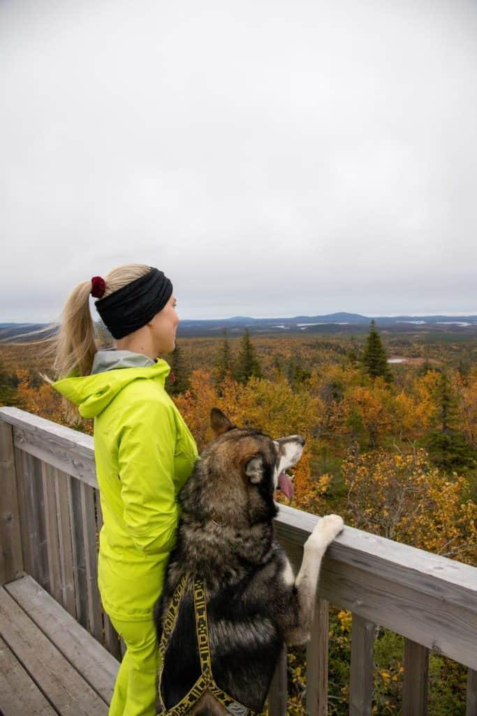 woman and husky dog looking over the forest