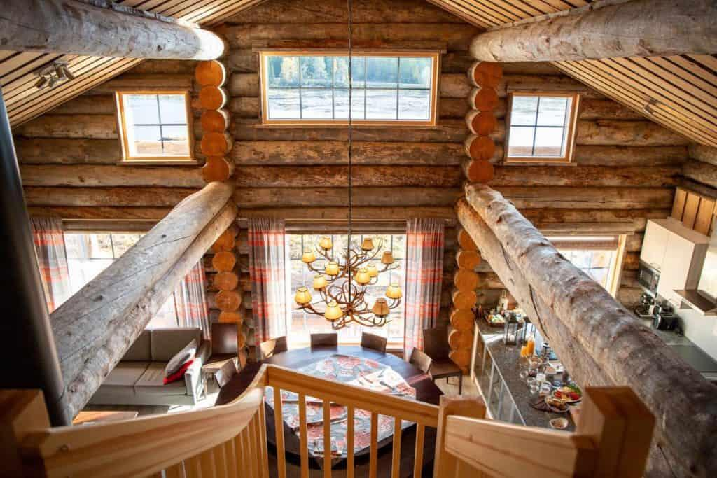 A wooden cabin's living room in Ruka-Kuusamo.