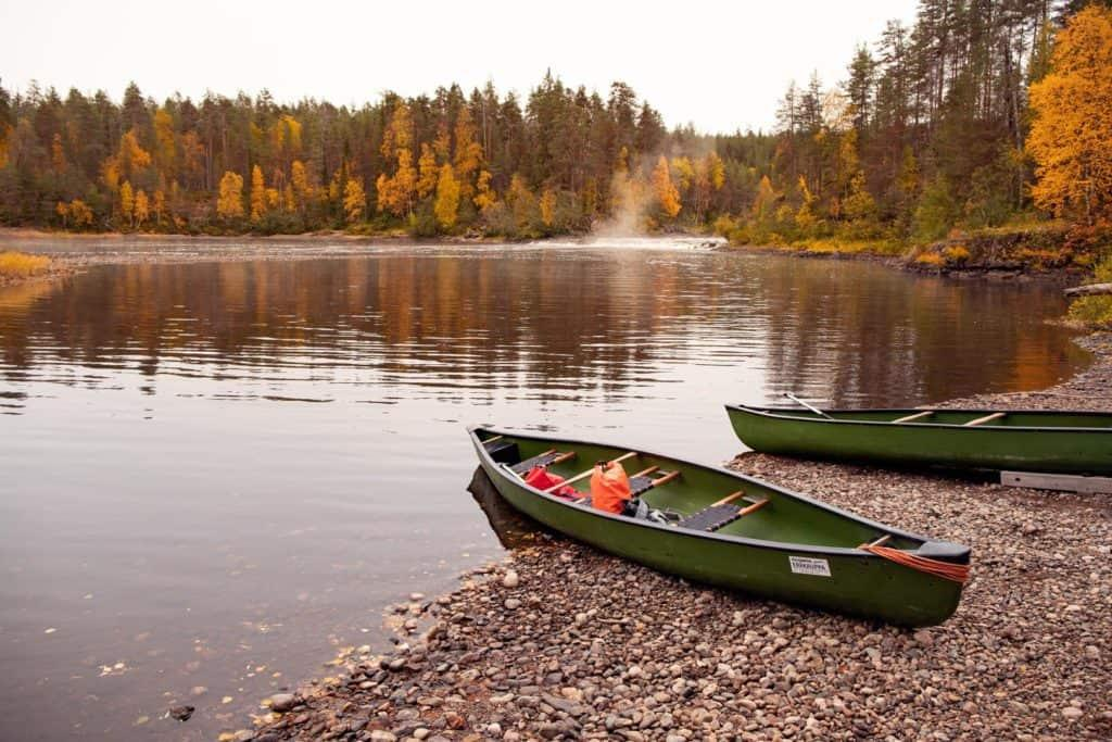 2 canoes on a lake in Kuusamo